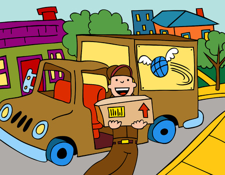 Cartoon of a shipment serviceman delivering a package in a residential neighborhood.