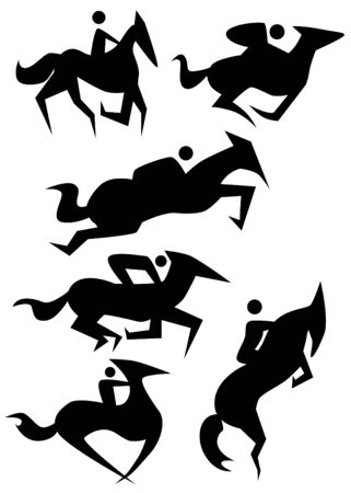 Horse icon set isolated on a white background. Vector