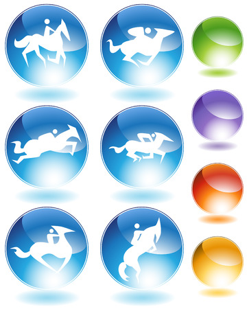 Horse icon crystal set isolated on a white background.