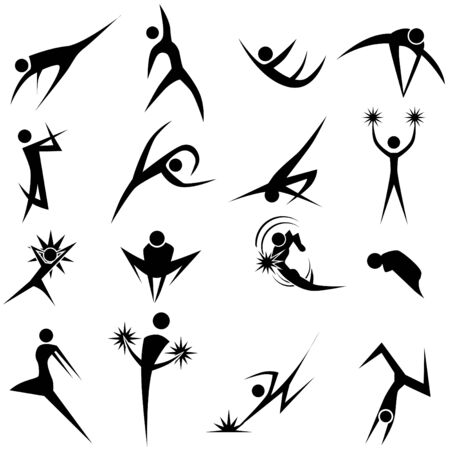 Dynamic pose set isolated on a white background. Vector