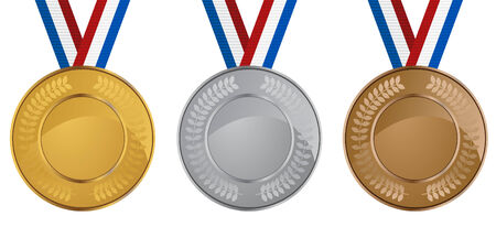 sports competition medals set isolated on a white background. Illustration