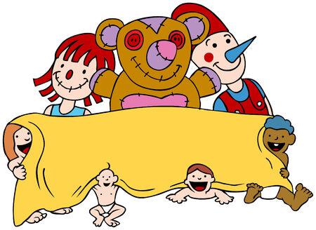 Carton of babies holding a large banner with large toys behind them.