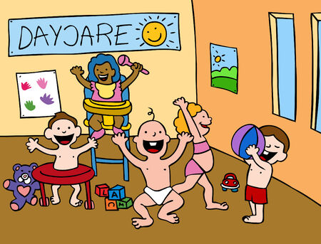 Cartoon of babies playing in a daycare center setting.