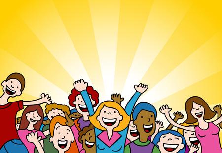 Cartoon of people cheering in amazement.