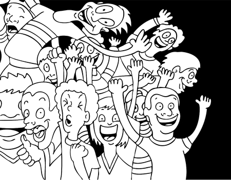 Cartoon of people screaming and shouting with excitement.