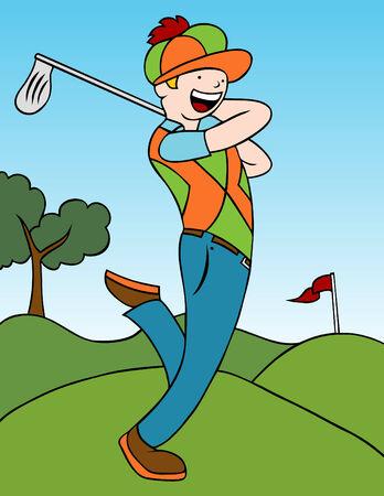 golfclub: Cartoon van een man zijn golf club swingen op de baan.  Stock Illustratie