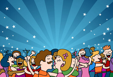 People kissing and hugging each other at a party. Stock Vector - 6238276
