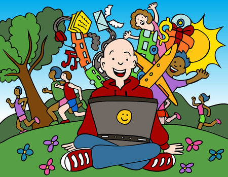 Cartoon of man using his computer in the park.