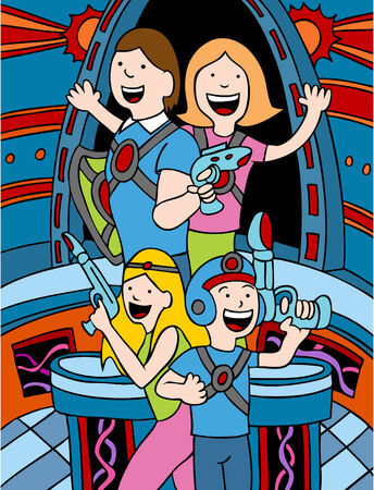 Cartoon of a family playing in a lasertag arena.