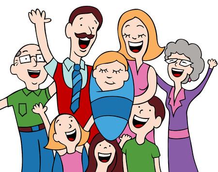 Caricatura de una familia de acoger a un beb� reci�n nacido en el mundo.  Foto de archivo - 6238273
