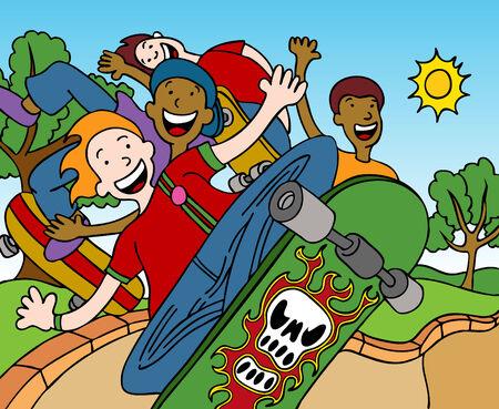 skateboard park: Cartoon of children riding skateboards at the park. Illustration