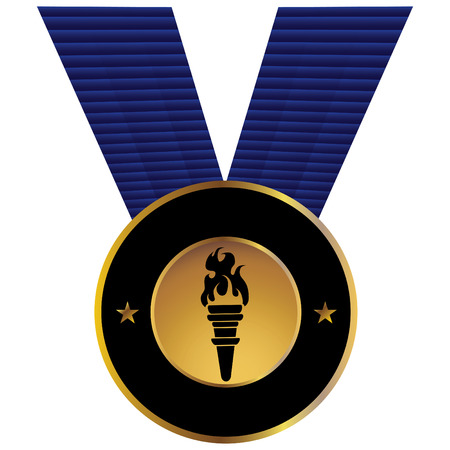 torch: sports competition Torch Medal isolated on a white background.