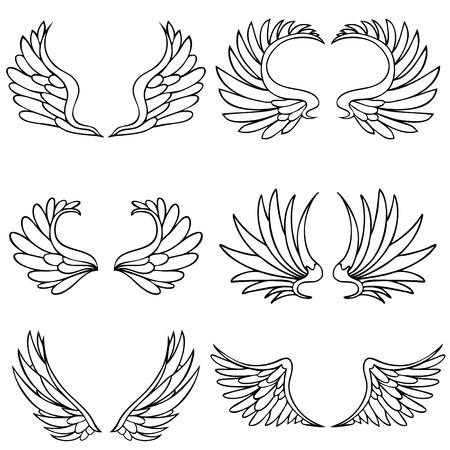 Angel vleugels geïsoleerd op een witte achtergrond.