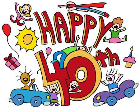 personas festejando: Caricatura de personas celebrando un aniversario aislado en un fondo blanco.