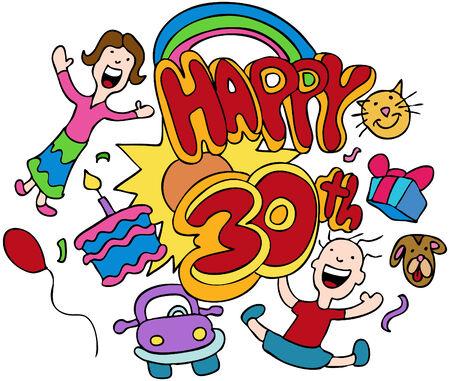 Happy 30e verjaardag geïsoleerd op een witte achtergrond.