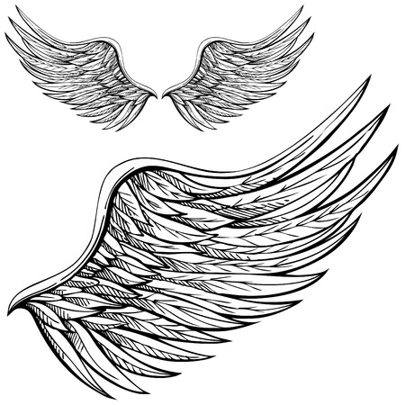 Cartoon angel wings in black and white. Drawn by hand.