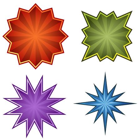 starbursts: Conjunto de brote estelar aislado en un fondo blanco.
