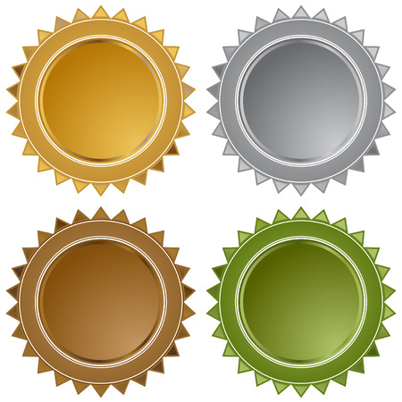 Star seals isolated on a white background.