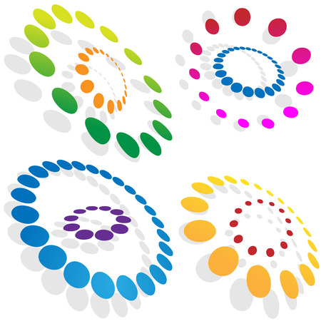 morphing: Morphing dotted circles isolated on a white background. Illustration
