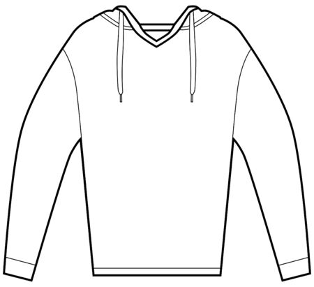 hooded: Hooded pullover shirt isolated on a white background. Illustration