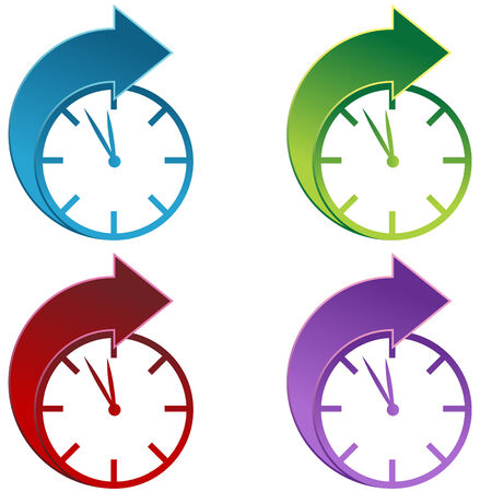 Clocks moving foward isolated on a white background. Stock Vector - 6258153