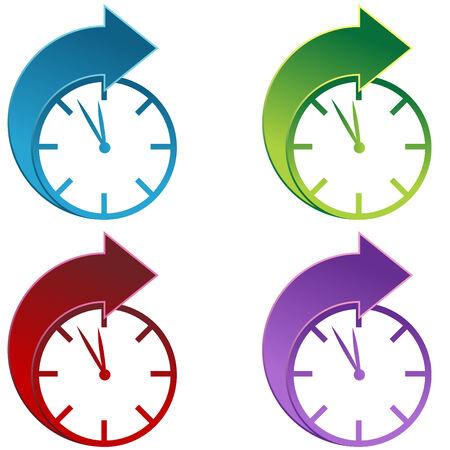 daytime: Clocks moving foward isolated on a white background. Illustration