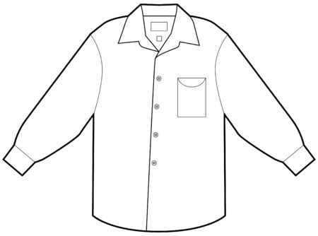 sleeves: Business dress shirt isolated on a white background. Illustration