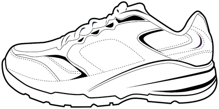 zapata: Zapato de tenis aislado en un fondo blanco. Vectores