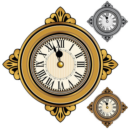 isolated: Gold, silver and bronze clock set isolated on a white background. Illustration