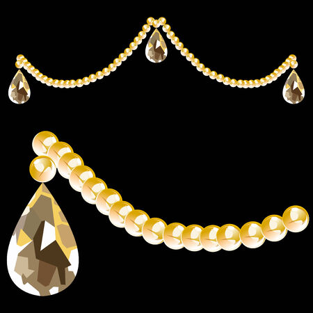 teardrop: String of crystal beads and teardrop shape isolated on a black background. Illustration