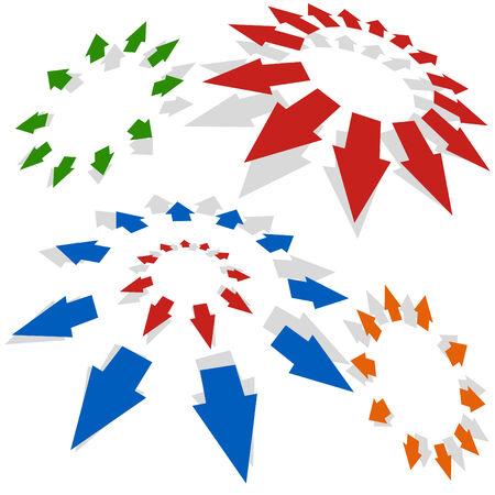 radiating: Las flechas que irradian hacia fuera aislaron en un fondo blanco.  Vectores