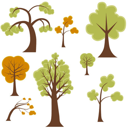 Cartoon tree set isolated on a white background. Illustration