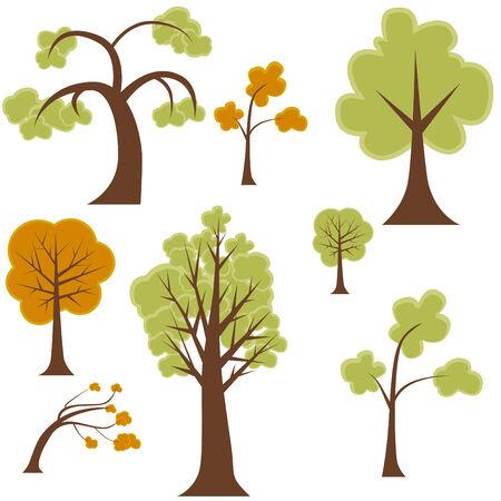 Ensemble des arbres Cartoon isolé sur un fond blanc.