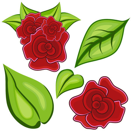 with sets of elements: Cartoon roses and leaves isolated on a white background.