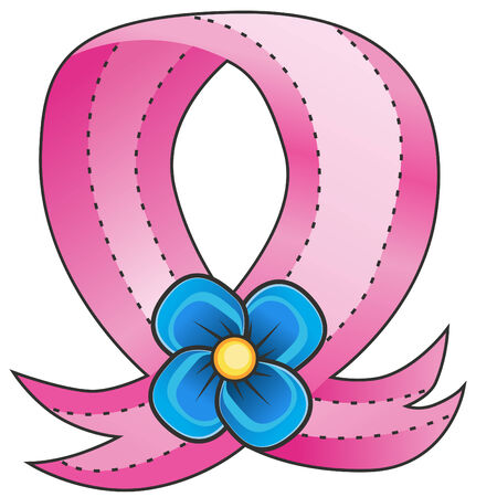 Cartoon pink ribbon and blue flower isolated on a white background.
