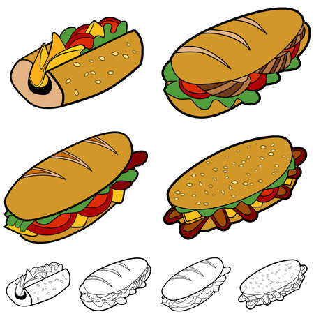 Sandwich set geïsoleerd op een witte achtergrond. Vector Illustratie