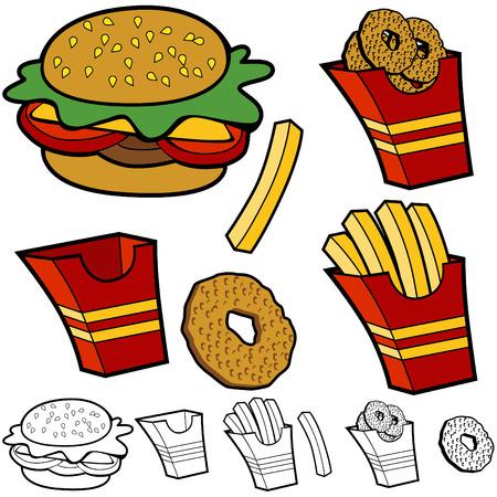 漫画ハンバーガー フライド ポテト オニオン リング セット、白い背景で隔離されました。