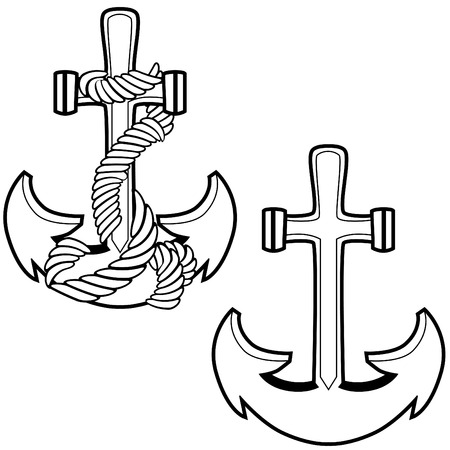 Boat anchors isolated on a white background.