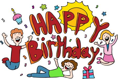 Caricatura de feliz cumpleaños aislado en un fondo blanco.  Foto de archivo - 6288671