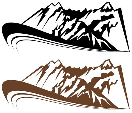 山と風の要素が、白い背景で隔離されました。