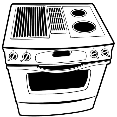 Stove illustration isolated on a white background. Vector
