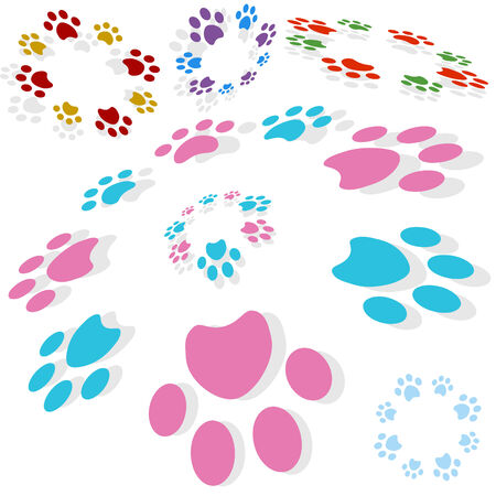 Paw print circle isolated on a white background. 向量圖像