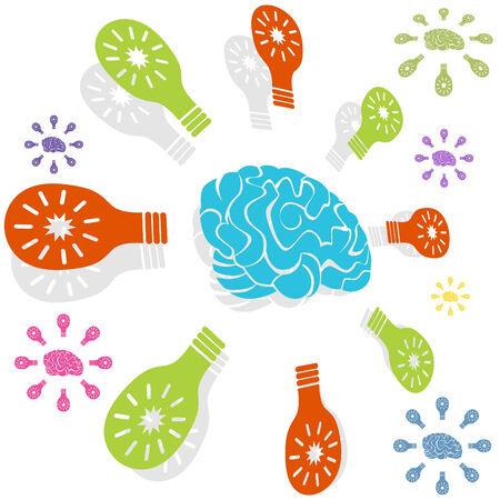 두뇌 아이디어 아이콘 흰 배경에 고립입니다.