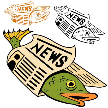 Cartoon vis verpakt in krant in verschillende kleuren.