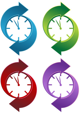 midnight time: Spinning Clock icon set isolated on a white background. Illustration