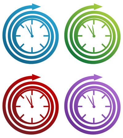 Spiral clock icon set isolated on a white background. Stock Vector - 6321136