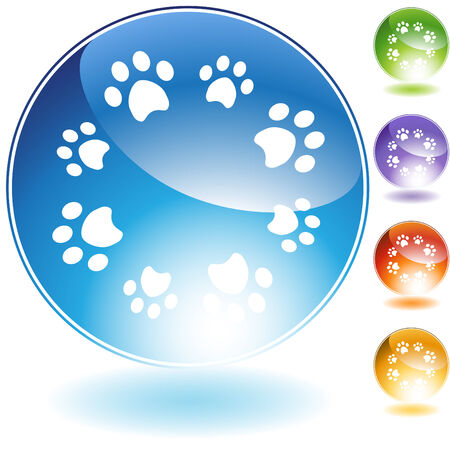 blue button: Paw print crystal isolated on a white background. Illustration