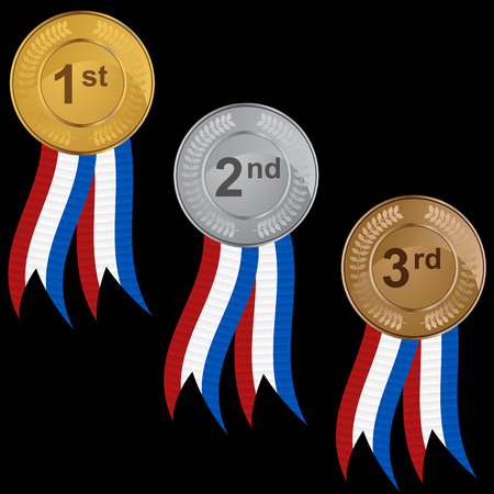 second place: Ribbon medal set isolated on a white background.