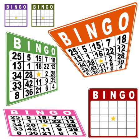 bingo: Conjunto de tarjetas de Bingo aislado en un fondo blanco.