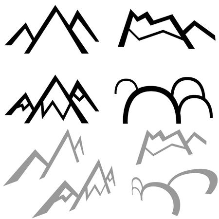 単純な山、白い背景で隔離されました。  イラスト・ベクター素材